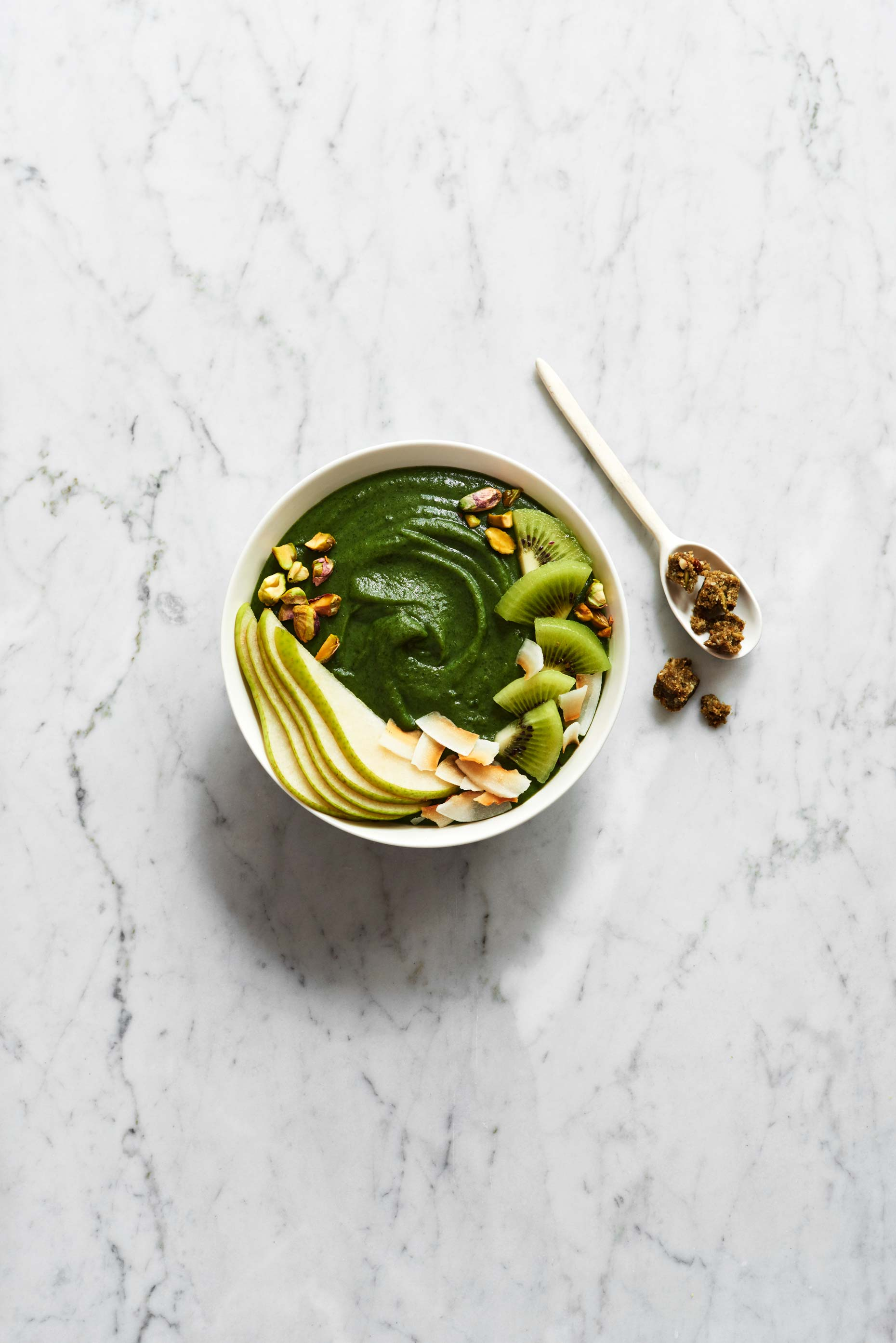 Green Ntidote breakfast bowl photographed by Food Photographer Adrian Mueller New York