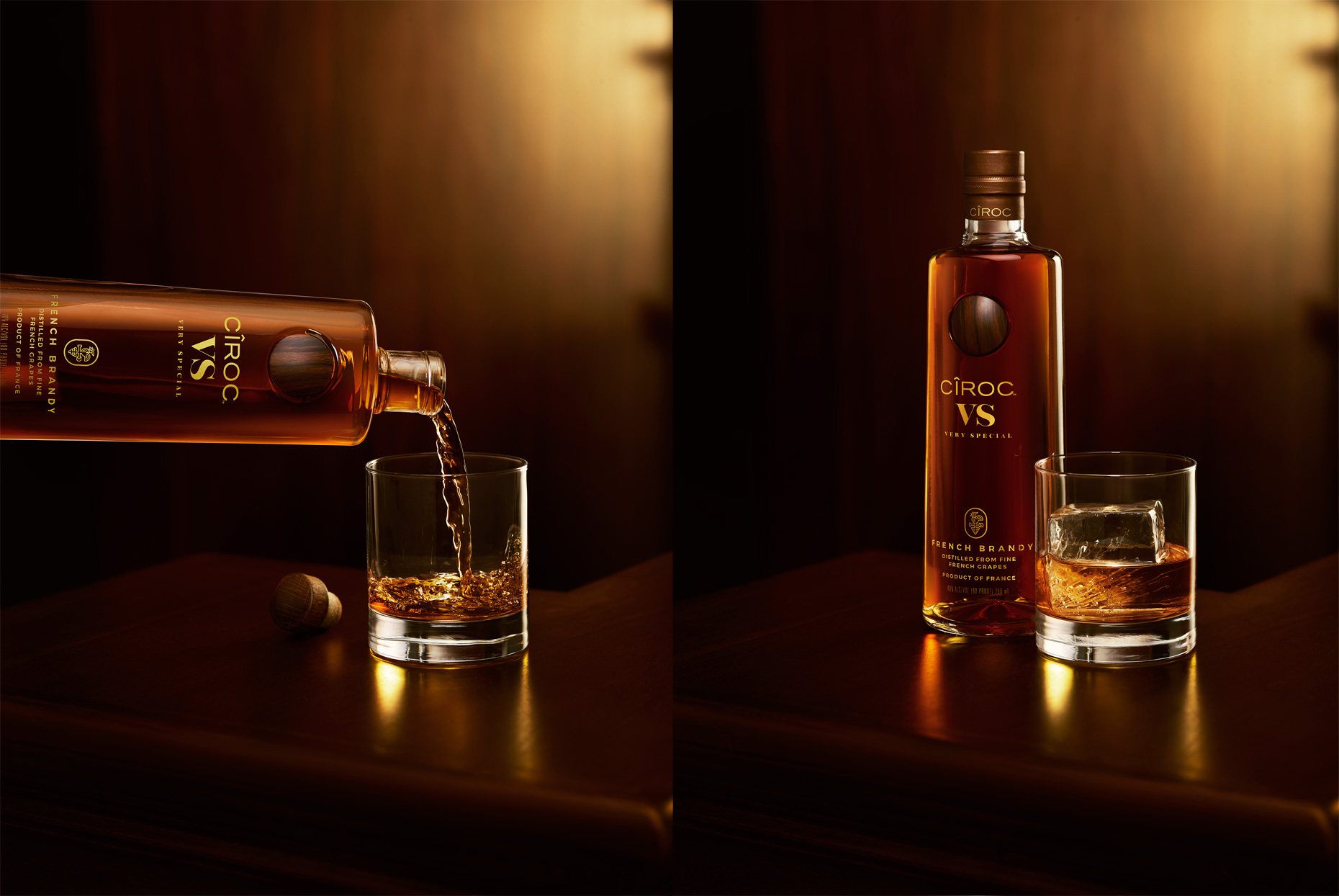 Ciroc VS bottle pouring brandy into a glass, photographed by Food & Beverage Photographer Adrian Mueller New York