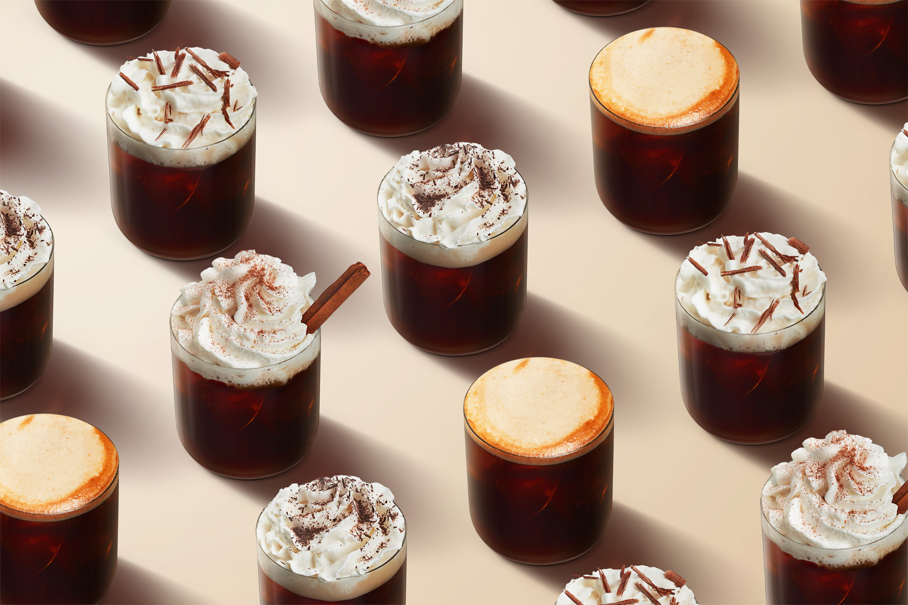 Four rows of hot and iced coffees, by Food and Beverage photographer New York Adrian Mueller